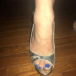 Aldo - Silver crackle sling back leather heels